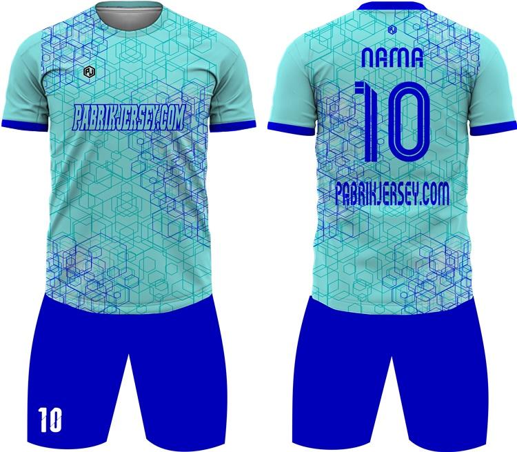 desain baju bola hijau toska